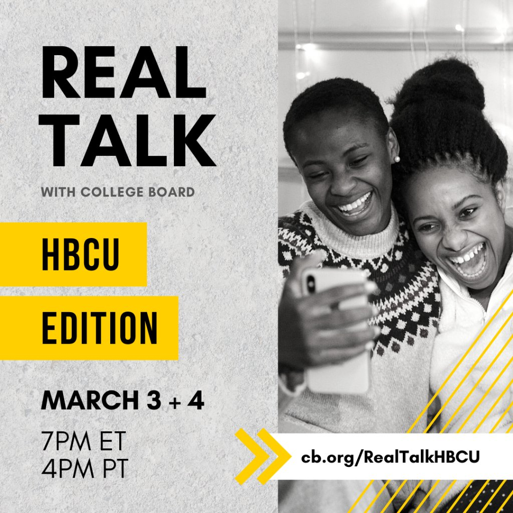 Real Talk: HBCU Edition is back! Join us for a special, two-night event on March 3 and 4 at 7 pm ET. Connect with HBCU admissions officers and get your questions answered in real time. To join this authentic, engaging conversation, RSVP at spr.ly/6013HYdsW.