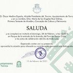Image for the Tweet beginning: Invitación del alcalde de Torrox,