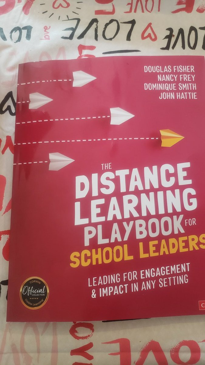Very fitting that the book is on my #ValentinesDay tablecloth. #love the #learning for #leaders from beginning to end!  Looking forward to reading my copy for parents. @john_hattie @NancyFrey @DFISHERSDSU @domsmithRP Check it out @DutchessMaye @shayla_holeman share with a friend