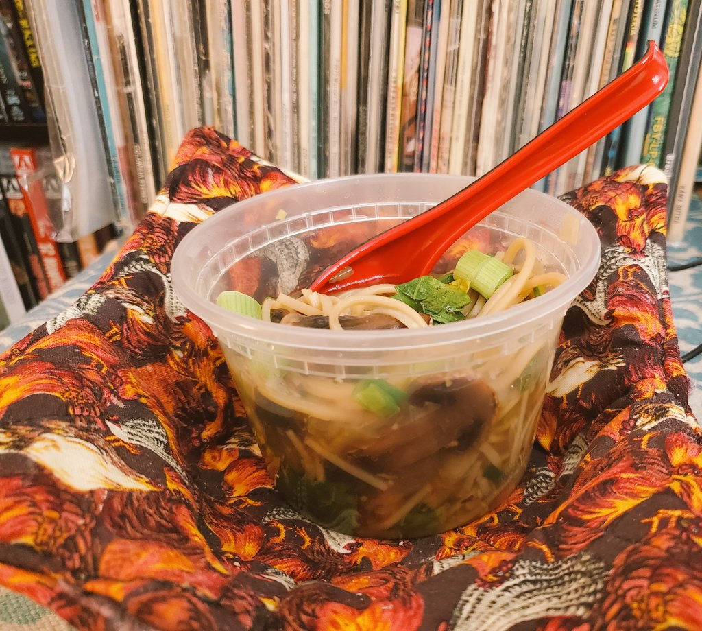Homemade ginger bok choy soup in a takeout bowl, tunes & #CowboyBebop  #lunch   #soup   #greenonions  #Mushroom (Samba)  Follow me for more extravagant food plating and musical pairings