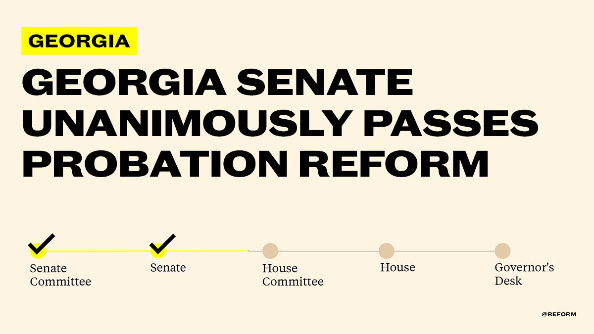 The Georgia Senate unanimously passed @StricklandForGA's probation reform bill!   We encourage the GA House to pass this bipartisan bill to save taxpayer dollars & help thousands of Georgians restart their lives @gajustice @ACUFforJustice @RestoreHER_US @FaithandFreedom