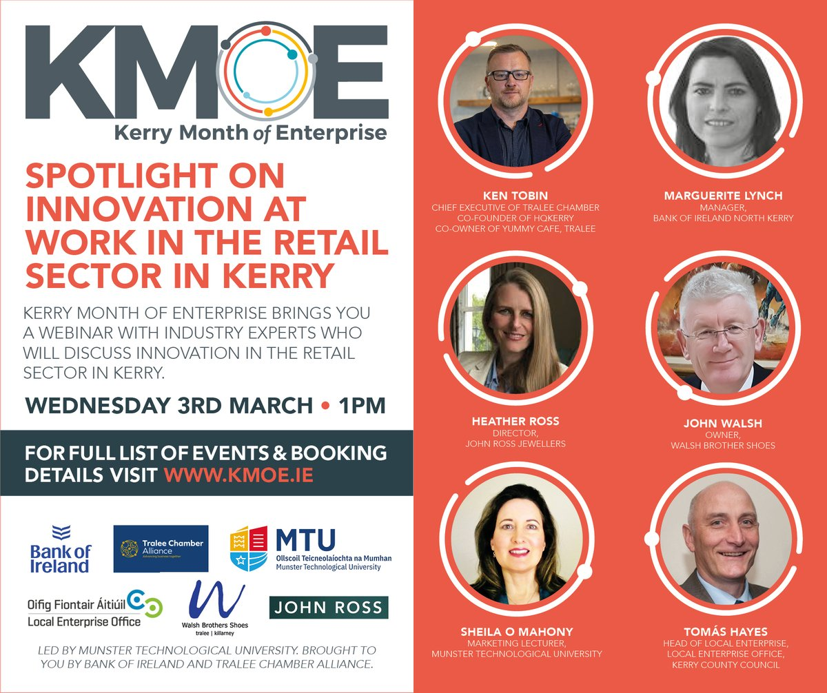 As part of Kerry Month of Enterprise we are delighted to host a webinar on Wednesday 3rd March at 1pm with BOI and Tralee Chamber Alliance focusing on Innovation at Work in the Retail Sector in Kerry. Register here https://t.co/gFKwKgyELc. Full details at https://t.co/TcEwK1xPB4 https://t.co/cnw3UMUXtM