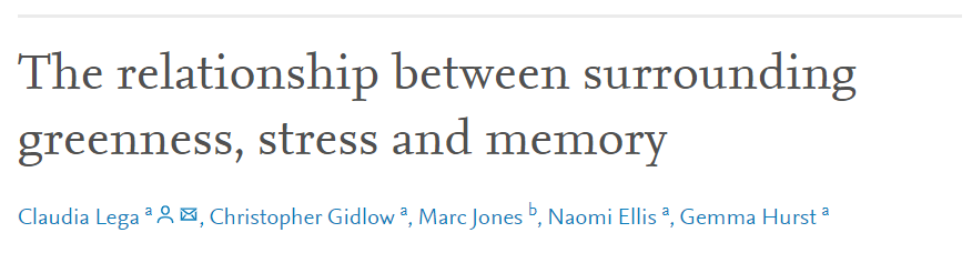 This paper looks at the relationship between surrounding greenness, memory, and #stress. Results suggest that benefits of exposure to surrounding greenness are partially mediated by stress:    #CHADResearch #GreenSpaces #HealthyPlaces #HealthForAll