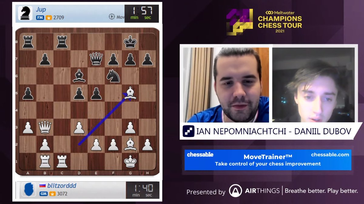 test Twitter Media - Dynamic Russia Duo of Ian Nepomniachtchi & Daniil Dubov are playing Hand & Brain now!   https://t.co/2Y8UEzyeD3  #c24live #ChessChamps https://t.co/NynhY8ZwVq