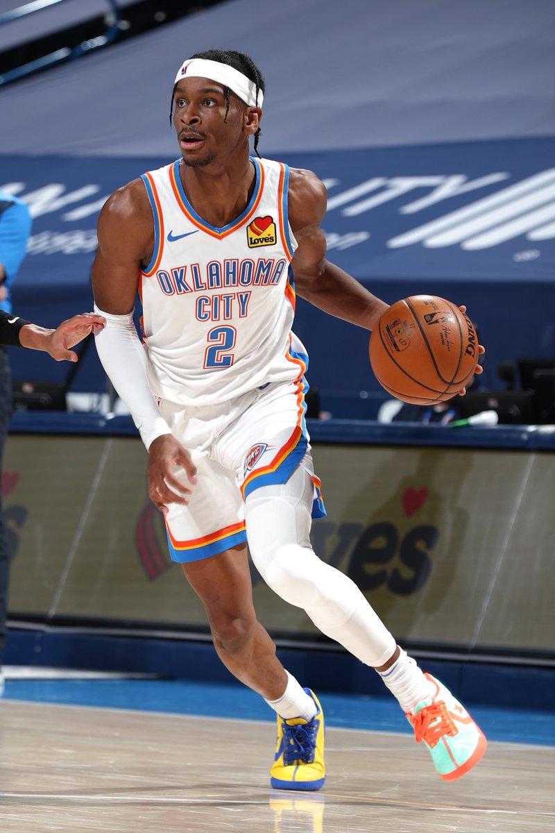 A new career-high 42 for @shaiglalex!   #NBAKicks #ThunderUp