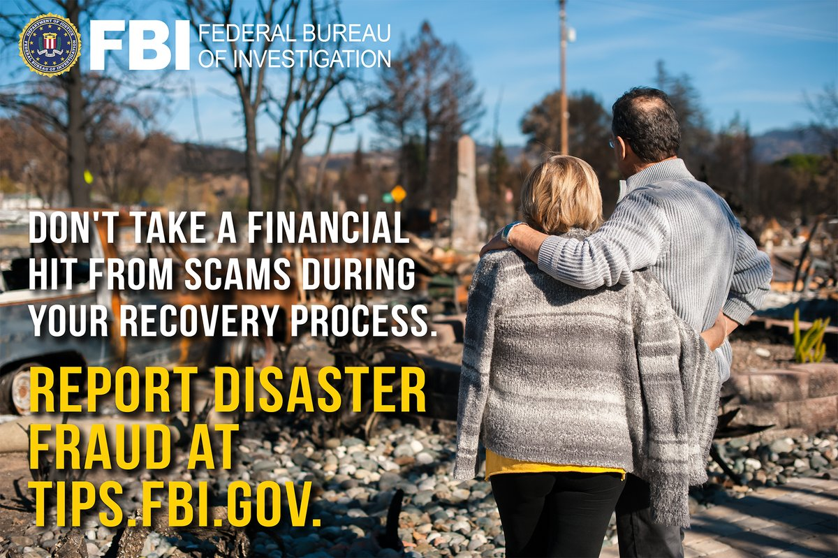 After a natural disaster, contractors may try to commit insurance fraud, re-victimizing people whose businesses or homes need repairs. Do your research before hiring a contractor. If you suspect disaster fraud, submit a tip to tips.fbi.gov. fbi.gov/disasterfraud