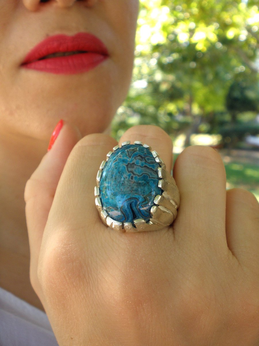Blue Agate Ring, Relief Anxiety Gemstone Ring, Handmade Agate Ring, Organic Silver Ring #etsygifts #blueagatering #organicsilverring #agatering #handmadering #midcentury #reliefanxietyring #stonering #stoixeiorings #selfgift #ValentinesDay #giftforher