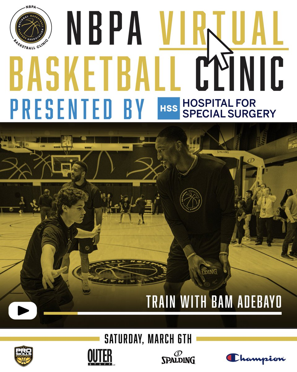 Level Up. 🏀⬆️  On March 6th, take your game to new heights and join the NBPA for a virtual clinic with @Bam1of1. Presented by @Hspecialsurgery, this clinic is for boys and girls ages 9-17 to help develop skills on and off the floor. #NBPATrainWithUs  ⛓️:https://t.co/Hzc2miyxdu https://t.co/Y1oE8XABSF