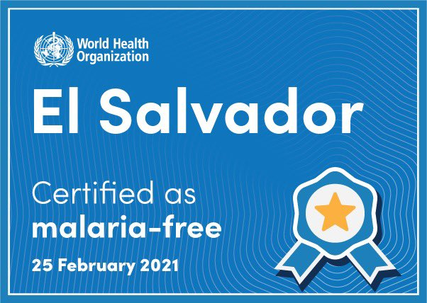 Congratulations, #ElSalvador for the remarkable #EndMalaria achievement! Malaria has afflicted humankind for millennia, but countries like 🇸🇻 are living proof and inspiration for all countries that we can dare to dream of a malaria-free future. https://t.co/GP4QOSIYxC https://t.co/xMuTHKGu3m