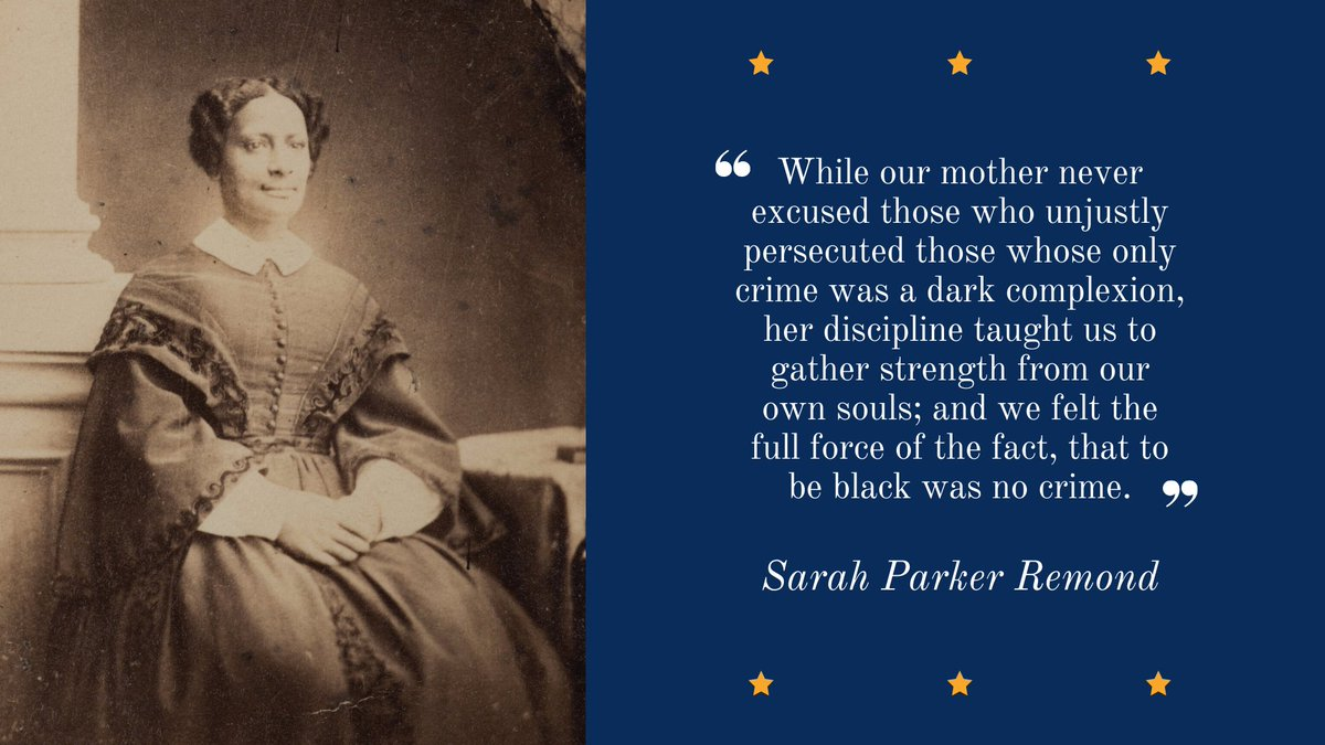 Sarah Parker Remond, born in Salem in 1826, gave her first public speech against slavery in the US at the age of 16. She continued to deliver abolitionist speeches across the country and in Great Britain. https://t.co/dBEXUMh6aS