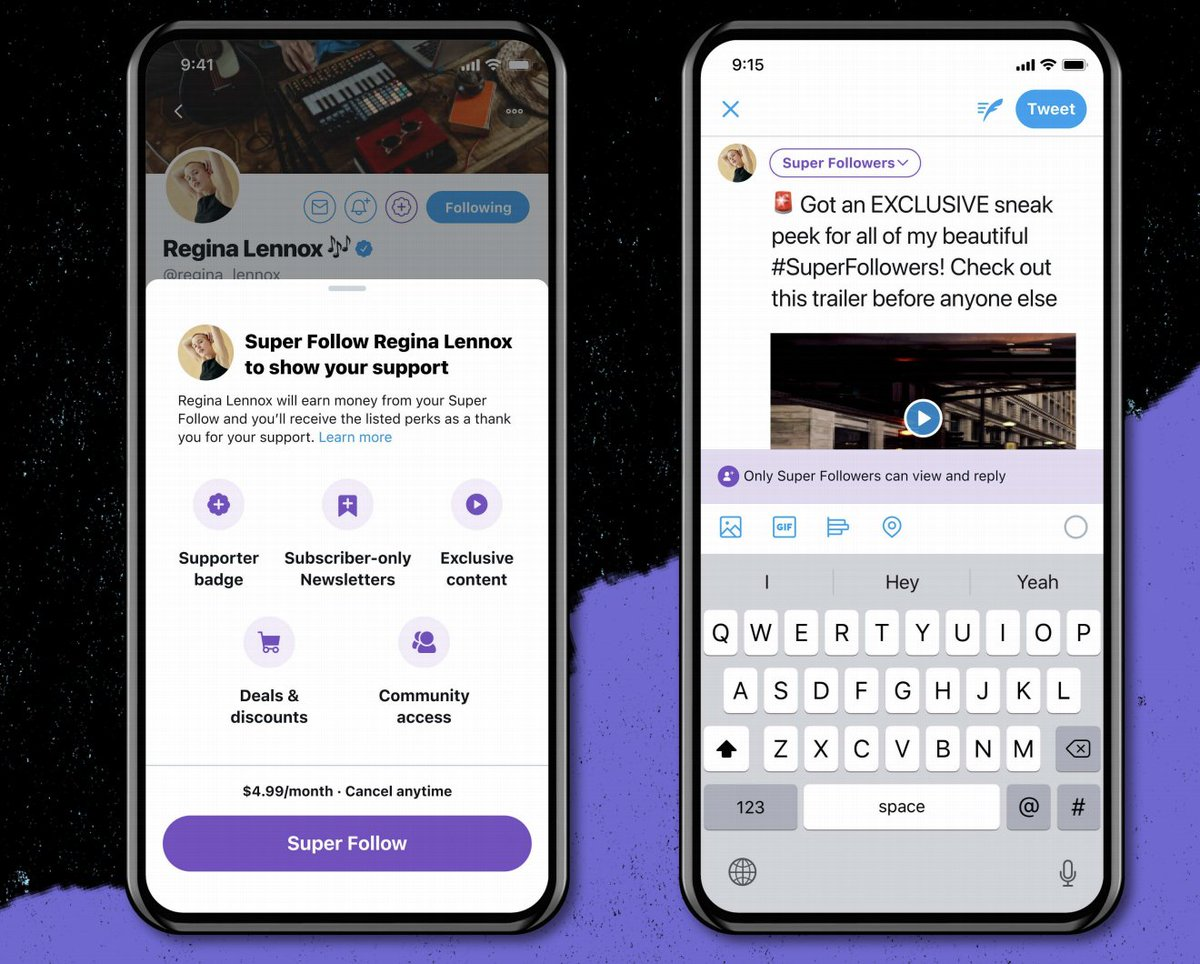 Twitter has just announced 'Super Follows' 👀  Users will be able to monetize their content, with exclusive Tweets for Super Followers...