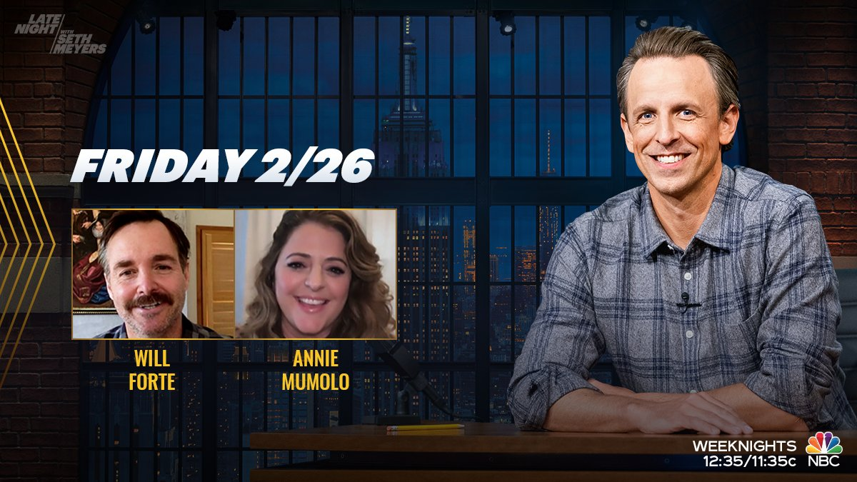 Tonight, @SethMeyers welcomes Will Forte (@OrvilleIV) and Annie Mumolo! 💥PLUS💥 Right after #LNSM, the #AmberRuffinShow will air on @NBC at 1:35/12:35c!
