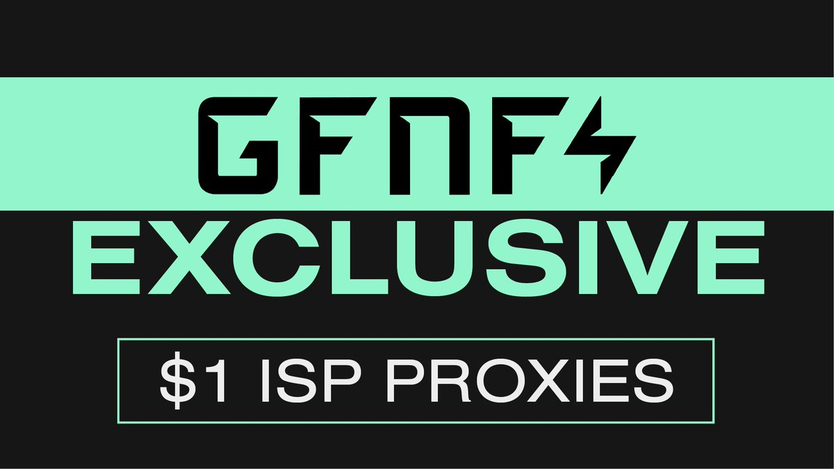 Introducing GFNF exclusive - $1 ISP Proxies ⚡️  Between DC's and Resis, our members are saving HUGE on their monthly expenses 🤑  The best Proxies in the industry, Sold AT COST, purely as a service for our members 🚀