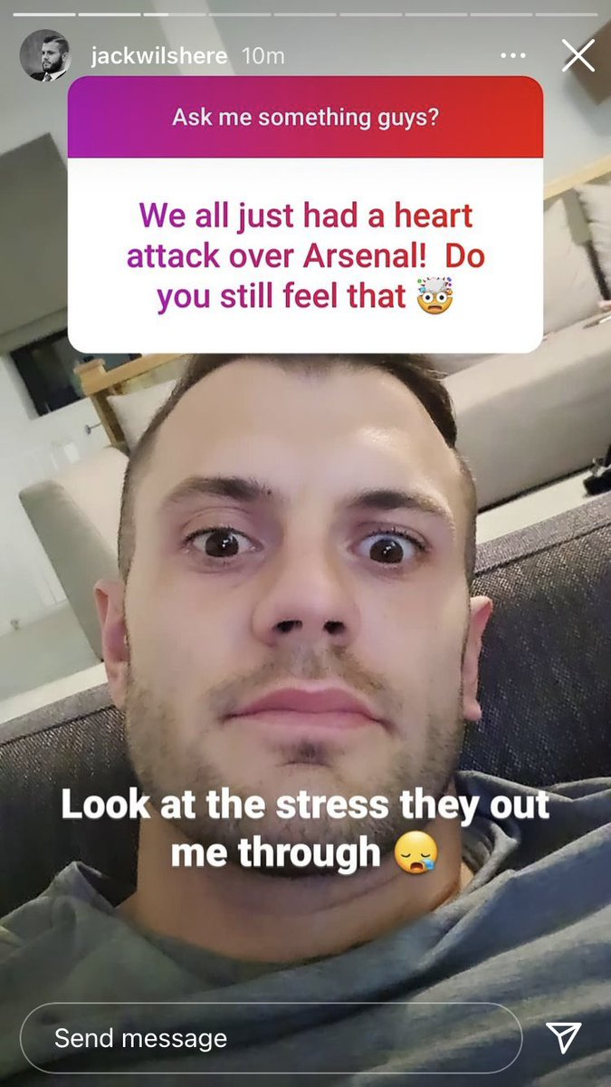 """Jack Wilshere on Instagram story, during a Q&A tonight.  On Arsenal's match tonight: """"Look at the stress they put me through 😓""""  On Saka: """"Top top player""""  [IG: jackwilshere] #afc"""