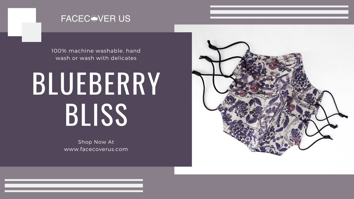 Our *limited edition* Blueberry Bliss facecover is now available at  #facecover #facemasks #facecoverings #giftidea  #supportlocal #madeforyou #facecovers #HappyNewYear2021 #ValentinesDay #fashionable #FaceCoverUS #WearAMask