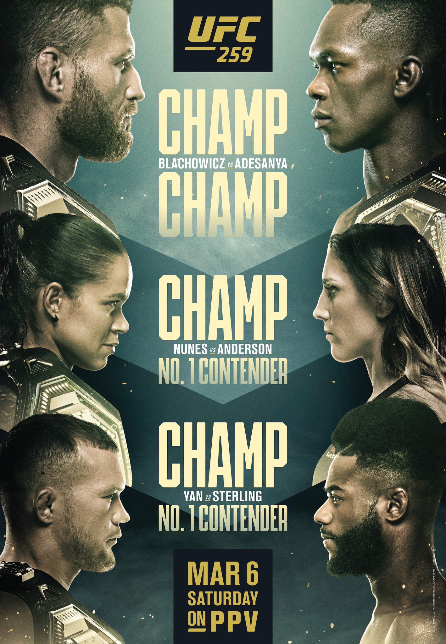 "UFC on Twitter: ""WELCOME TO FIGHT WEEK. 🏆🇵🇱 @JanBlachowicz vs 🇳🇿🏆  @Stylebender 🏆🏆 @Amanda_Leoa vs 🇦🇺 @MeganA_MMA 🏆🇷🇺 @PetrYanUFC vs  🇯🇲 @FunkmasterMMA #UFC259… https://t.co/mMz8WGFr7x"""