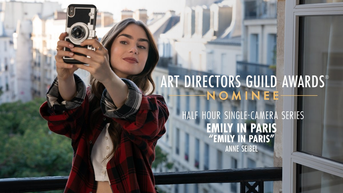 Emily in Paris is nominated for Half Hour Single-Camera Series at the 25th Annual ADG Awards!