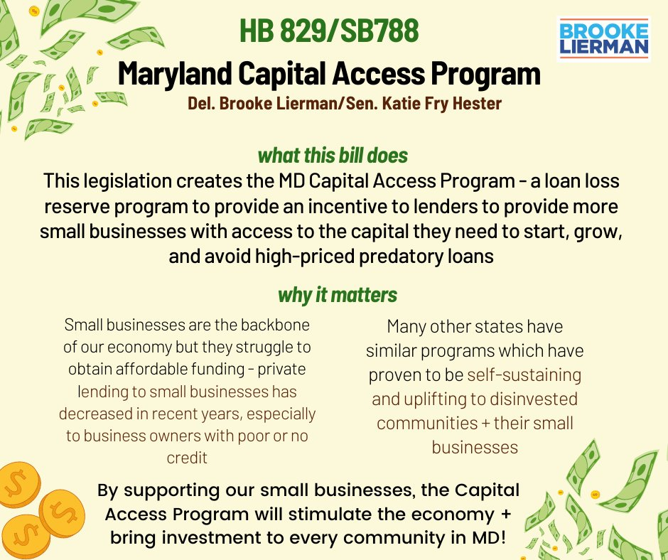 The Maryland Capital Access Program is a game changer for small business recovery. Let's get it done!  @BrookeELierman #MDG21