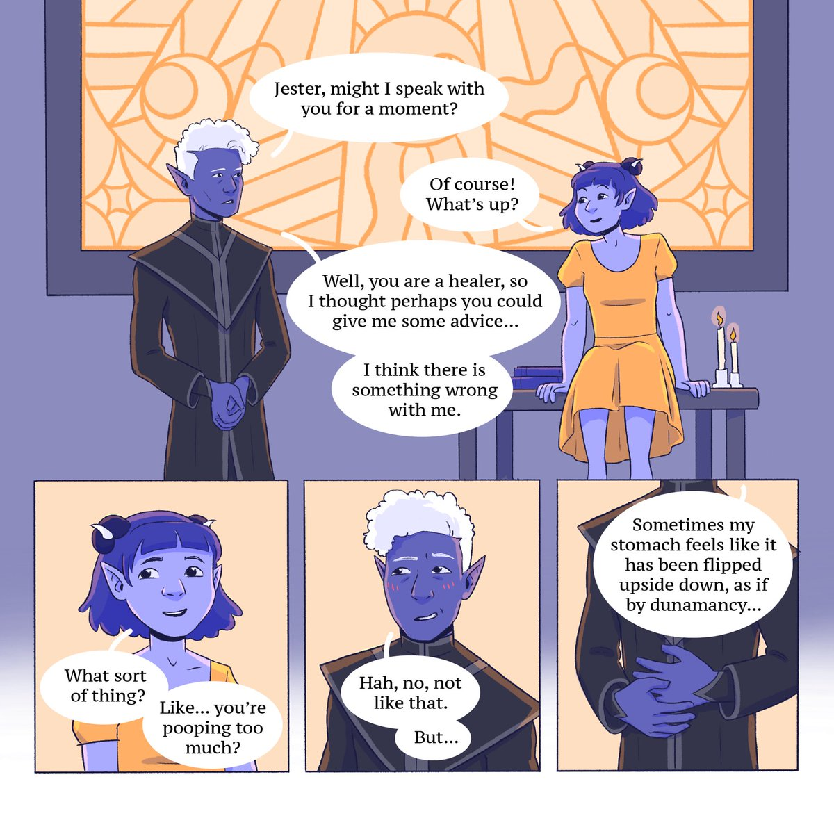 What if Essek doesn't know he's in love?  A short #shadowgast comic inspired by @ShiveringQueef ✨💜✨(1/2)  #CriticalRole #criticalrolefanart #CriticalRoleArt