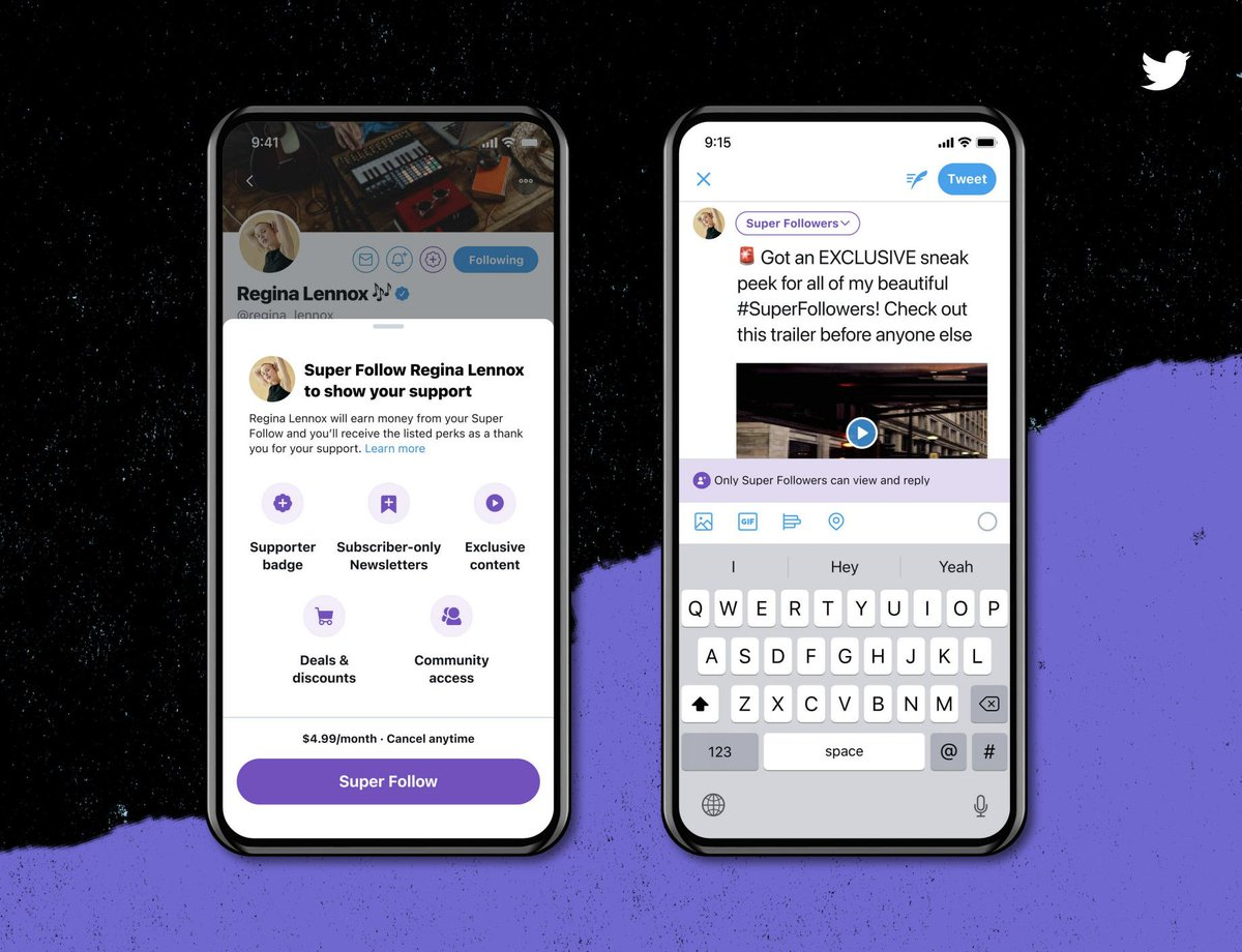 .@Twitter has several new features coming to the platform:  • Super Follows: users can charge followers for exclusive content.   • Twitter Spaces: users will be able to converse in audio chat rooms.   • Twitter Communities: users can join groups based on their interests.