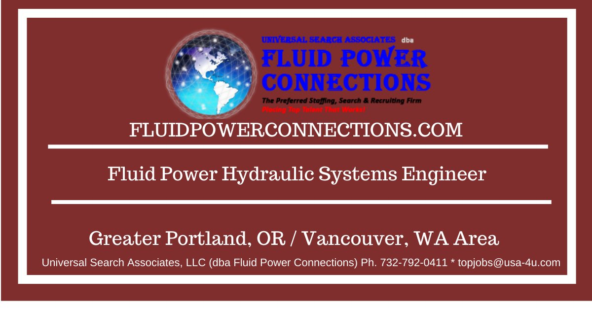 Top Job Opportunity!  Our client seeks a Fluid Power Hydraulic Systems Engineer based in the Portland, OR area. Position is responsible for hydraulic & control system design for our clients customers. Competitive compensation and benefits package offered. https://t.co/RL0JjlYEvs https://t.co/IFYSW3i9xX