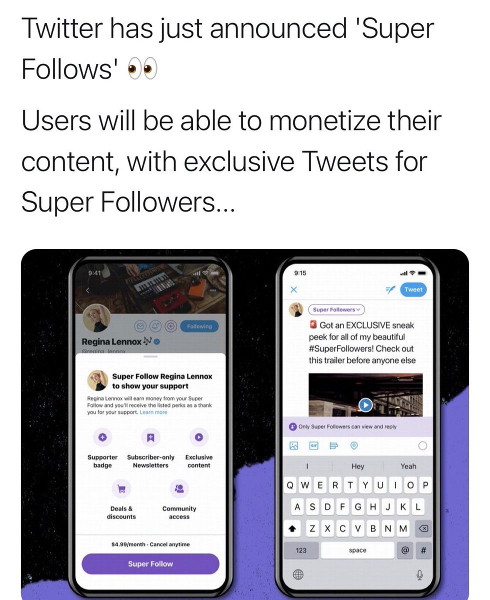 "#twitter has just announced ""Super Follows"" which will allow people to monetize content for their ""super followers""... thoughts?"