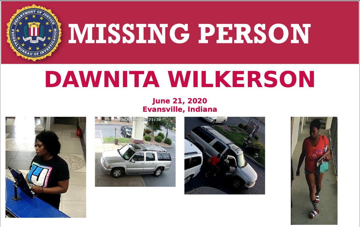 Have you seen Dawnita Wilkerson? The mother of 6 has been missing since June 21, 2020. Last seen at an Evansville motel getting into a silver/pewter 2004 Suburban. Contact @FBIIndianapolis at 317-595-4000 or @EvansvillePD at 812-436-7979/812-435-6194. fbi.gov/wanted/kidnap/…