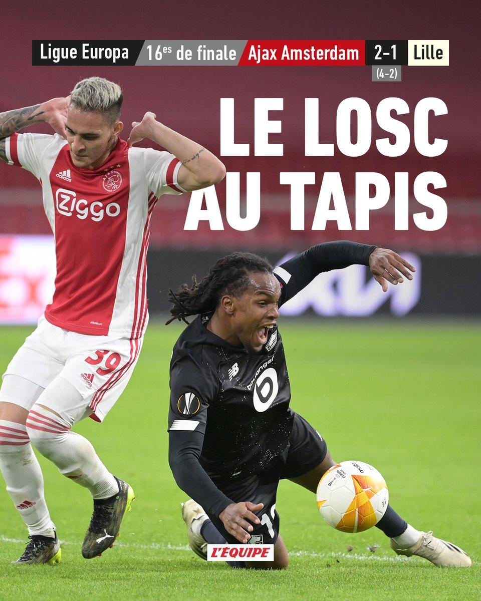Lille est éliminé par l'Ajax Amsterdam.  Le match >    #AJAXLOSC