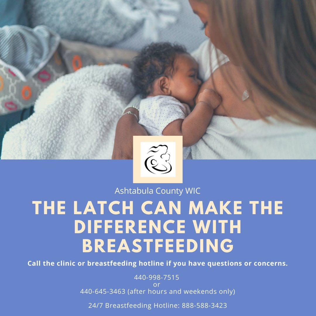 The latch can make all the difference with breastfeeding. If you are having problems call our office! #breastfeeding #weareheretohelp #ashtabulawic #ashtabulacounty #breastfeedingsupport