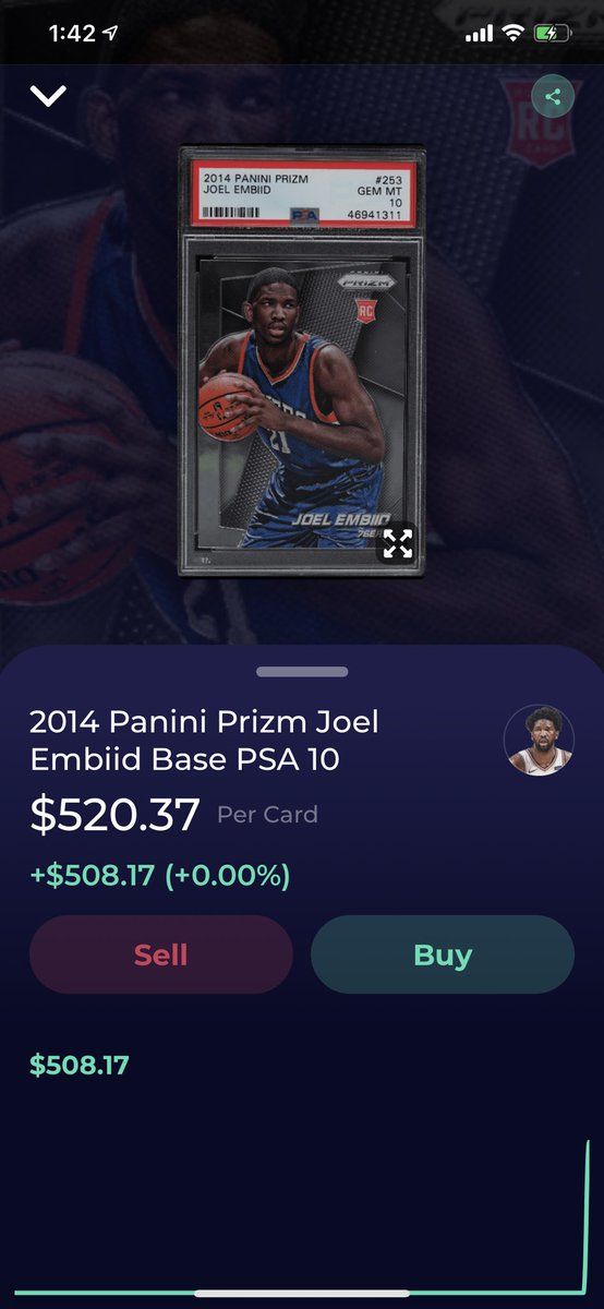 .@dibbs_io added this 2014 Joel Embiid Prizm. There are (5) sales in the last two days on eBay > $800, Joel is +300 for MVP and the 76ers have the best record in the East. Embiid's Prizm Base prices are up 88% over the past 30 days and that isn't yet captured in the marketplace. https://t.co/bTD6gCvlyi