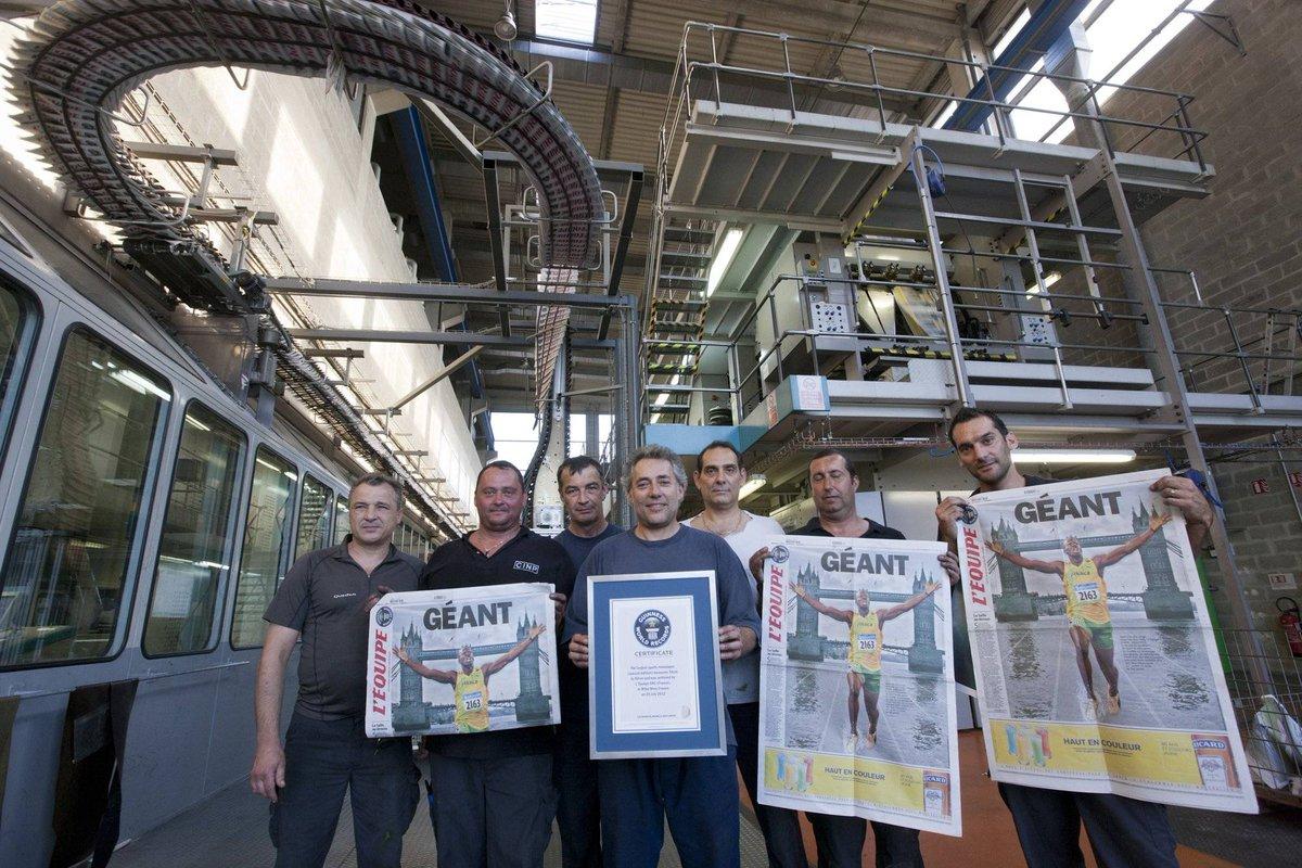 Série 75 ans à la une : 26 juillet 2012 - Géant, comme son titre l'indique  À la veille de l'ouverture des Jeux Olympiques de Londres, « L'Équipe » a établi son premier record du monde : celui du journal le plus grand     #lequipe75ans