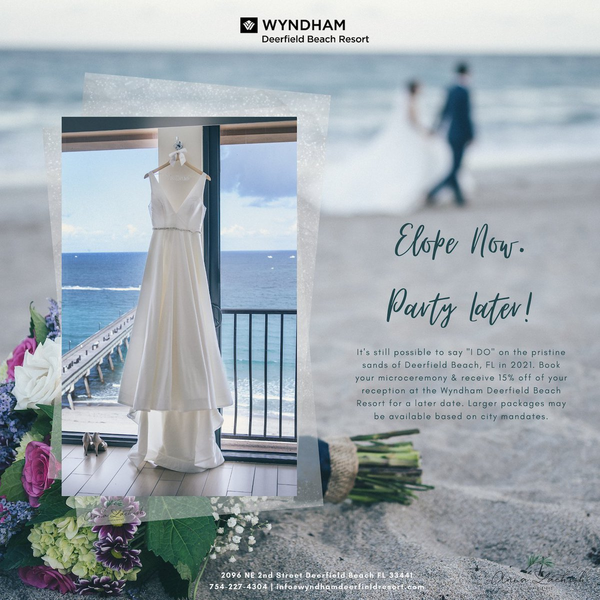 Elope now and party later! The Wyndham Deerfield Beach Resort is here to help you with your wedding needs. Book your microceremony and receive 15% off of your reception for a later date.   #wedding #elope #party #ceremony #beachwedding #destinationwedding #wyndham #florida #dfb