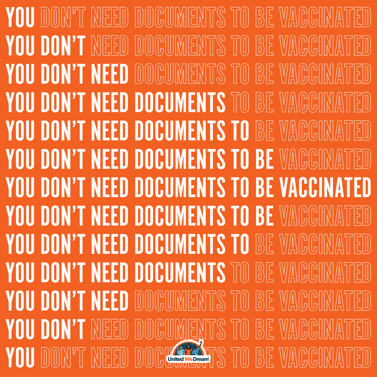 Undocumented people can get the covid-19 vaccine! In some states, like Florida, the government is placing barriers for our community. Asking for ID, social security, or proof of citizenship is WRONG.