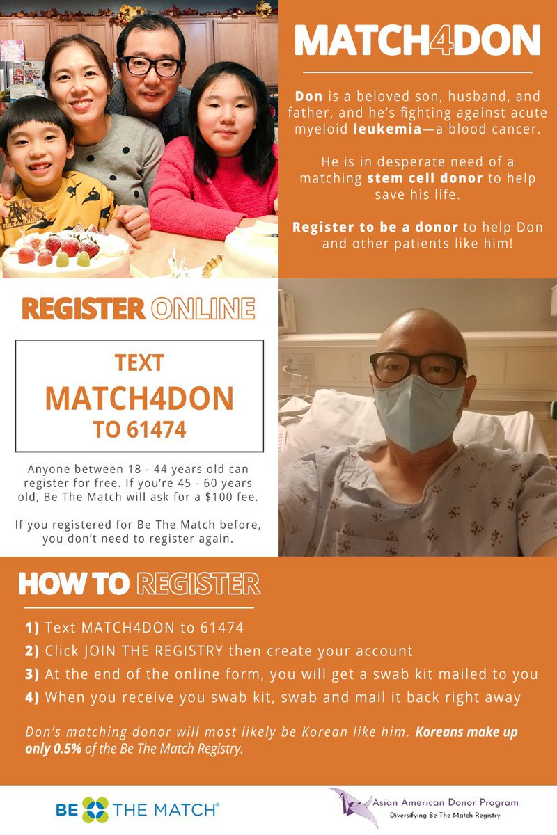 URGENTREQUEST Don needs a #stemcell or #bonemarrow donor to save him from #leukemia! Please share widely and register now at aadp.org/homekit