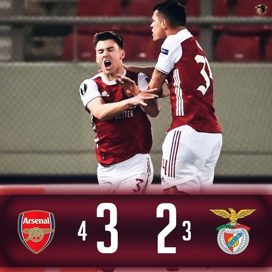 What a game😍🔥  Arsenal knocked out Benfica from with 87th min goal from Aubameyang 🙏  Arsenal now reached to Round of 16 of Europa League ❤️  #Arsenal #ARSBEN #benfica #UEL #europaleague #aubameyang #saka
