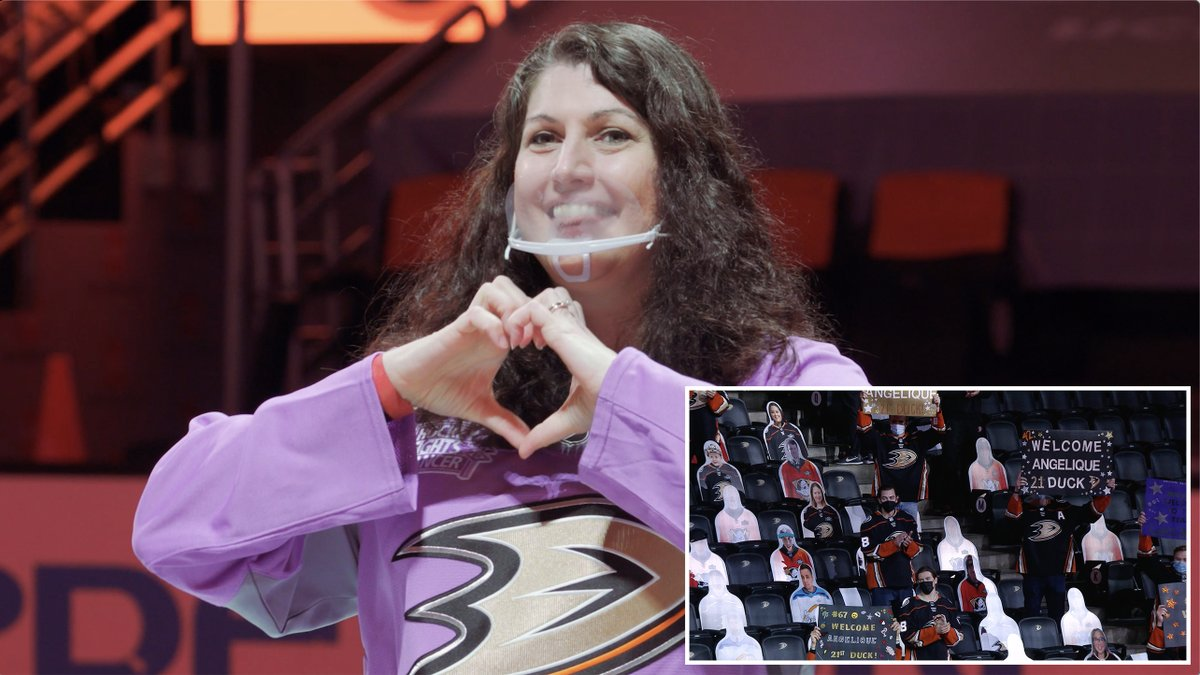 We flipped the script on 21st Duck and longtime fan Angelique Fong, and had our players surprise her by cheering her on from the stands as she was announced at center ice. Watch her emotional reaction. #FlyTogether