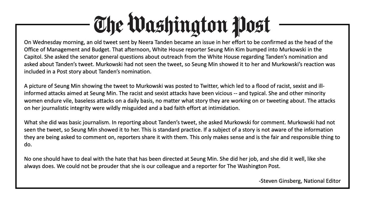 Latest statement from Washington Post National Editor @stevenjay on the harassment of reporter Seung Min Kim
