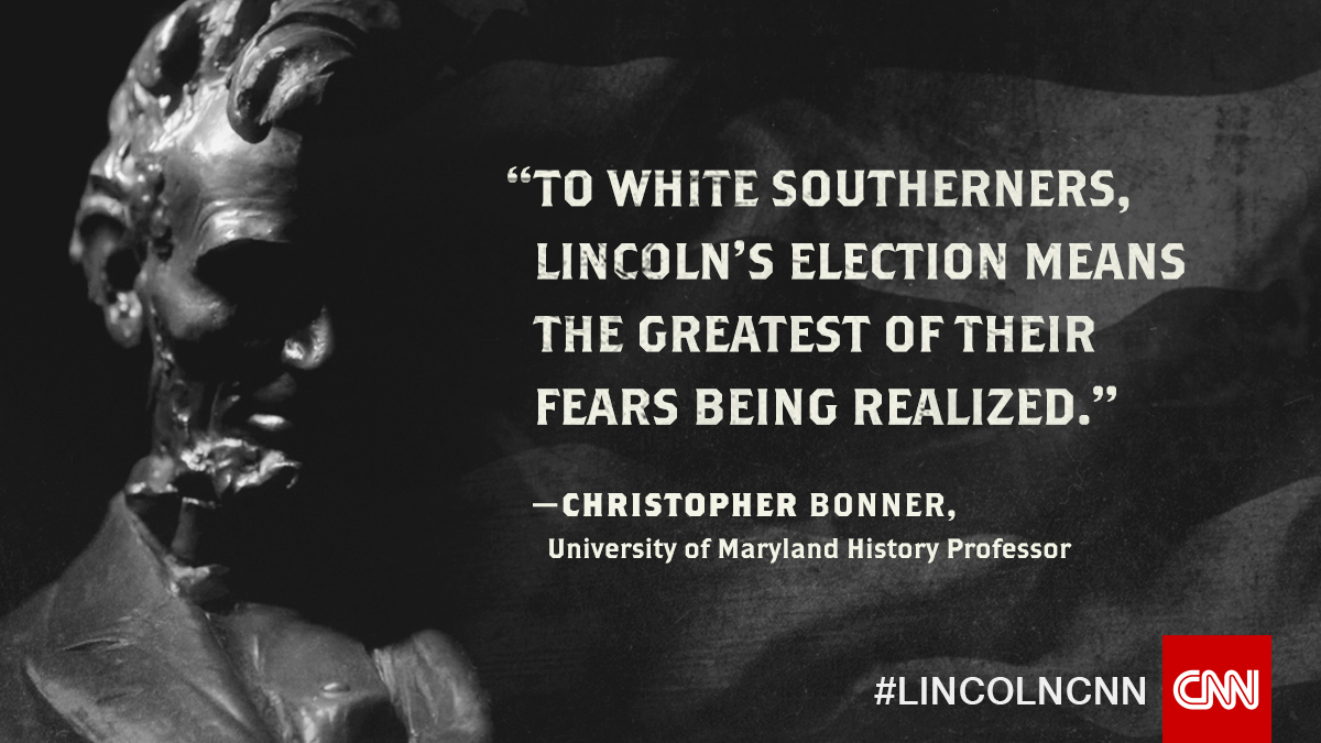 Once it was clear that Lincoln was going to win the election,southern plantation owners feared that his views on slavery would disrupt their livelihoods.Lincoln: Divided We Stand continues Sunday at 10p ET/PT #LincolnCNN