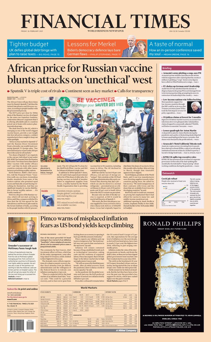 Just published: front page of the Financial Times, international edition, Friday 26 February