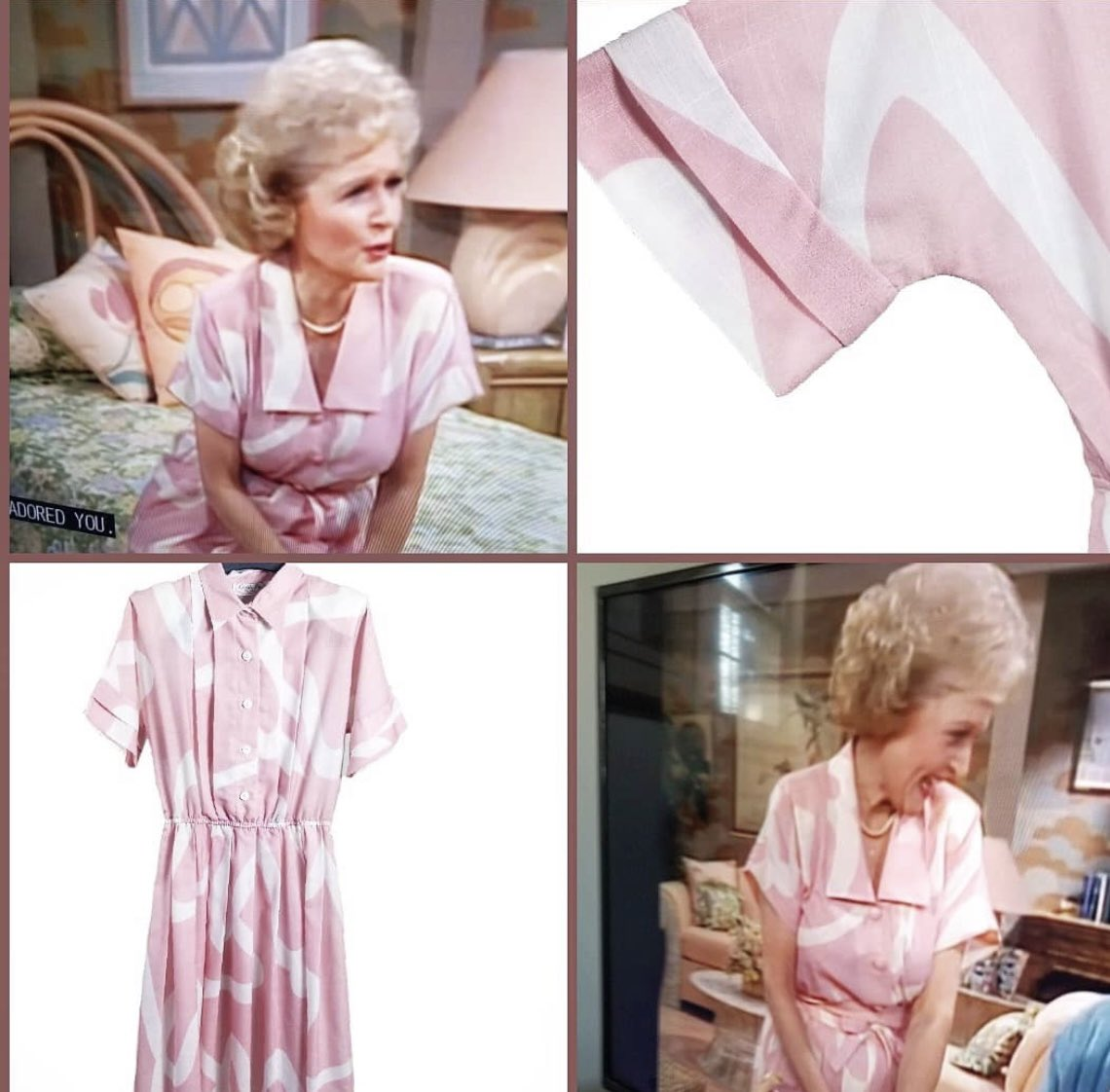 I JUST bought this dress, same as the one betty white wore in #goldengirls and am going to try to get betty to autograph and auction for charity for her 100th birthday! 🤞 now to research her favorite animal rights animal shelter #bettywhite #goldengirls