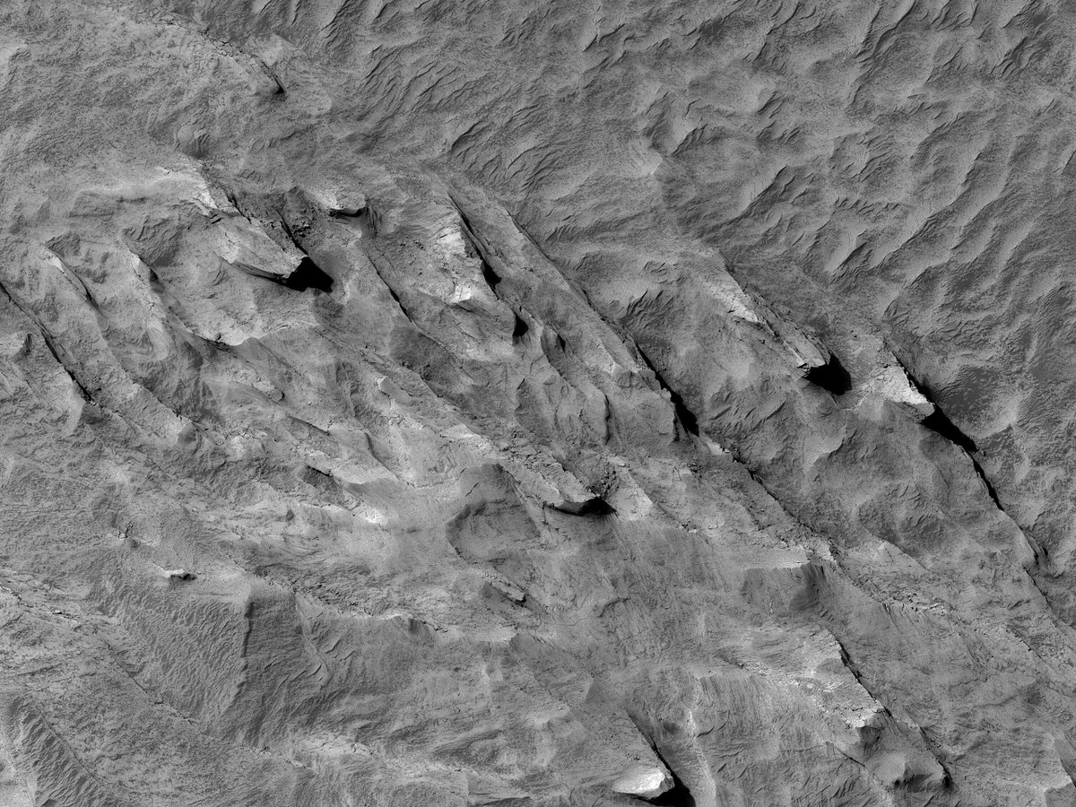 Hi10K: A Terraced Fan in East Candor Chasma This is an interesting area, located adjacent to the massive Valles Marineris canyon system. There is possible soft sediment deformation of lake-related sediment, which can help with geologic mapping. flic.kr/p/2kEPJfr