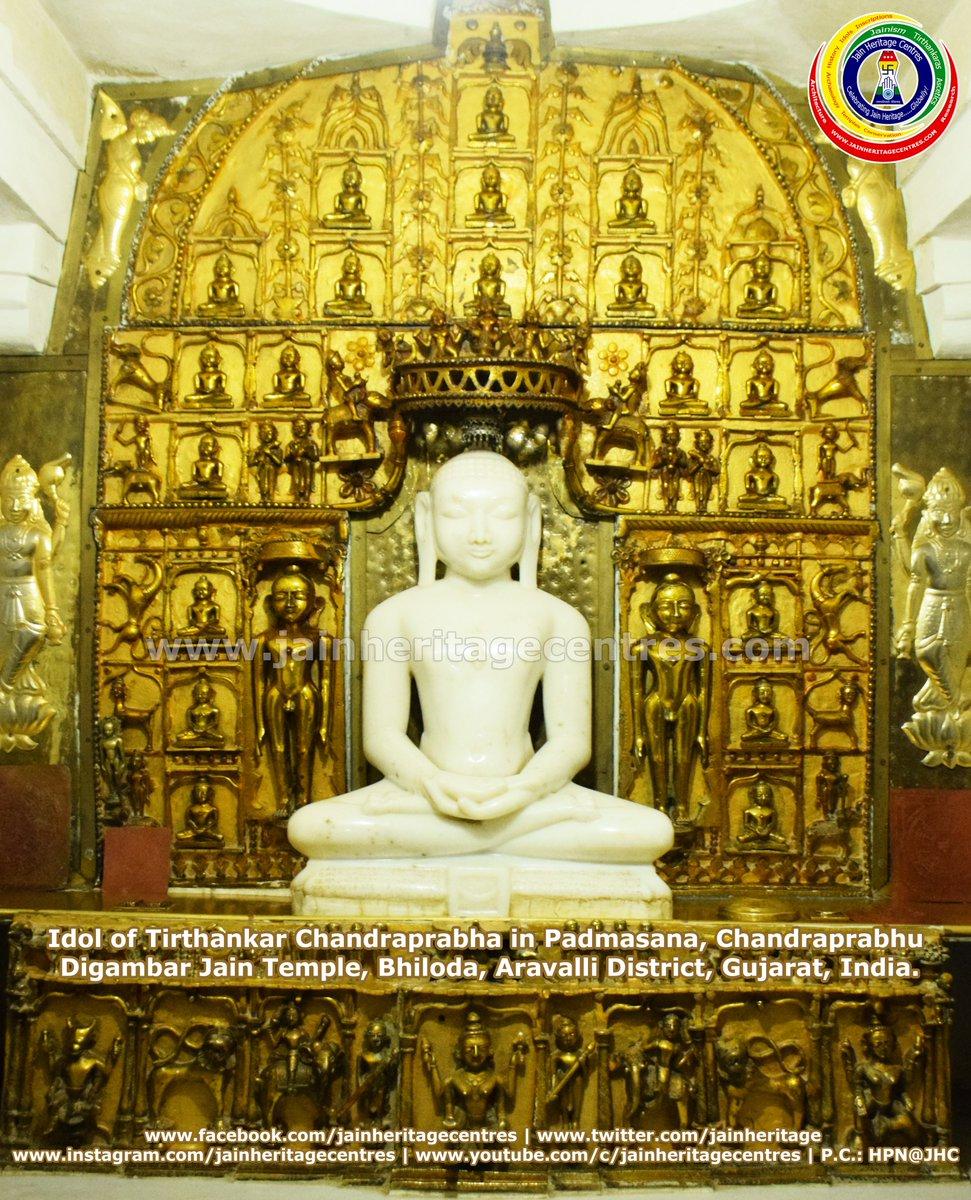 The #idol of #Tirthankar #Chandranath in #Padmasana along with #Choubis, #Chandraprabhu #Digambar #Jain #Temple, #Bhiloda, #Aravalli District, #Gujarat, #India. More about Bhiloda -  PC: @nitin_hp #Jain #Jainism #JainHeritage #JHC #JainHeritageCentres