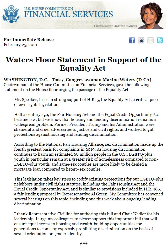 #RELEASE: Chairwoman @RepMaxineWaters' Floor Statement in Support of the #EqualityAct |