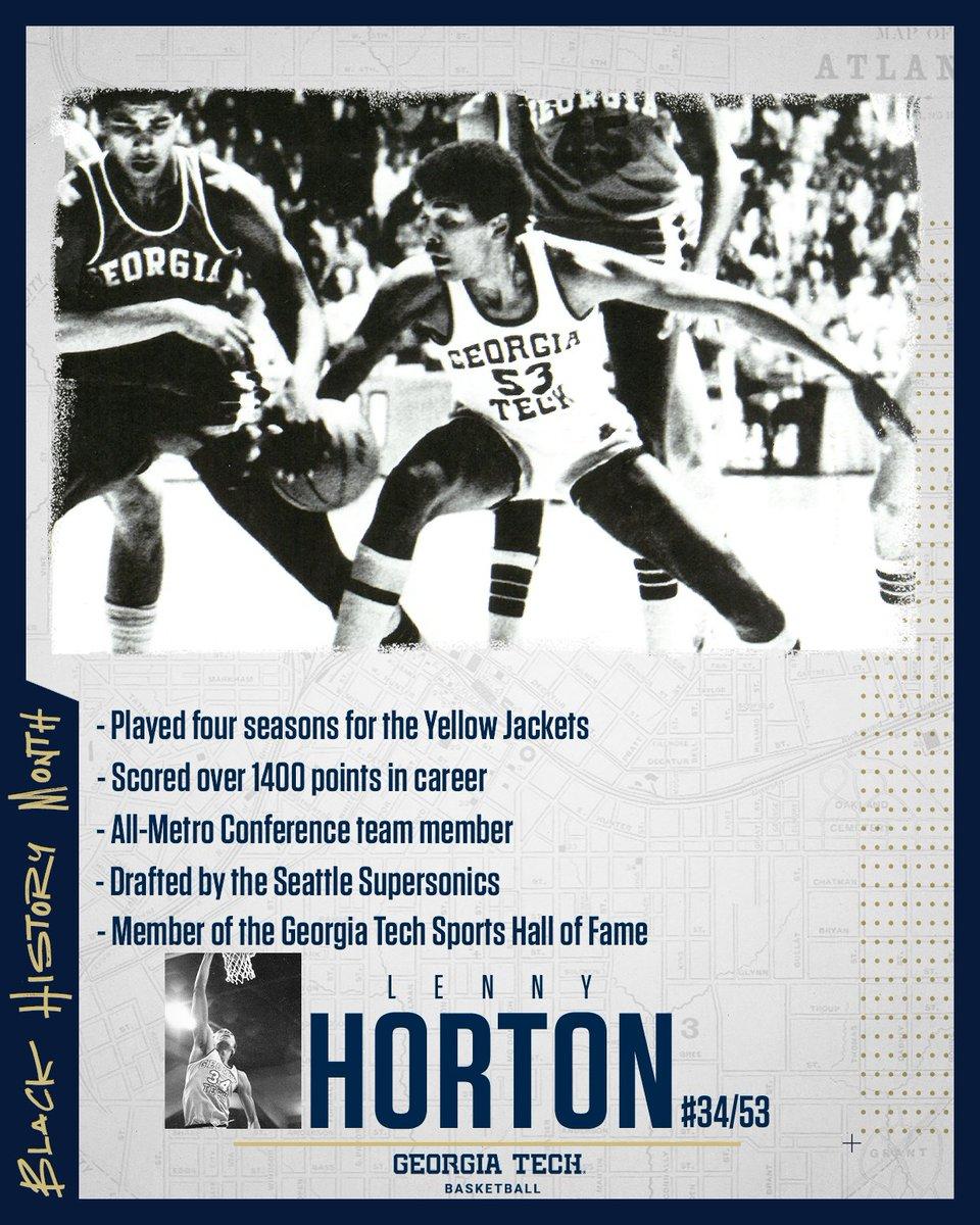 Black History Month Spotlight:  A 6'7 forward from Vauxhall, NJ...a member of the @GTAthletics Hall of Fame...Lenny Horton 🐝🏀  #BlackHistoryMonth