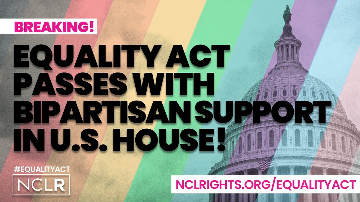 The U.S. House just passed the #EqualityAct which would protect women, POC, and the #LGBTQ community from discrimination in:   👷Employment 🏠 Housing  🎓 Education  💳 Access to credit  🎫 Public accommodations 💰 Federal funding ⚖️ Jury service  Now the Senate MUST do the same!