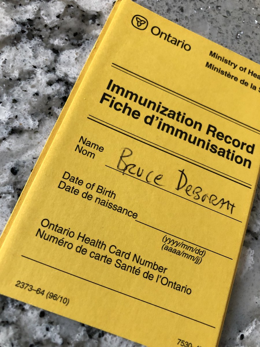 @celliottability @RobinMartinPC Should we be reminding people to take their 'Immunization Record' card with them when they get the #COVID19 vaccine?