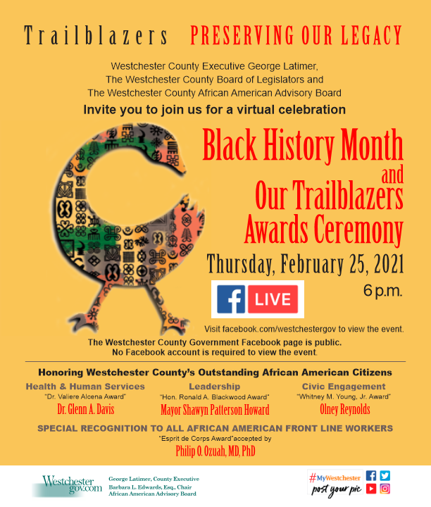 #Westchester County - tonight, February 25 at 6 p.m. on Facebook Live in celebration of #BlackHistoryMonth and our 2021 Trailblazers Award recipients.