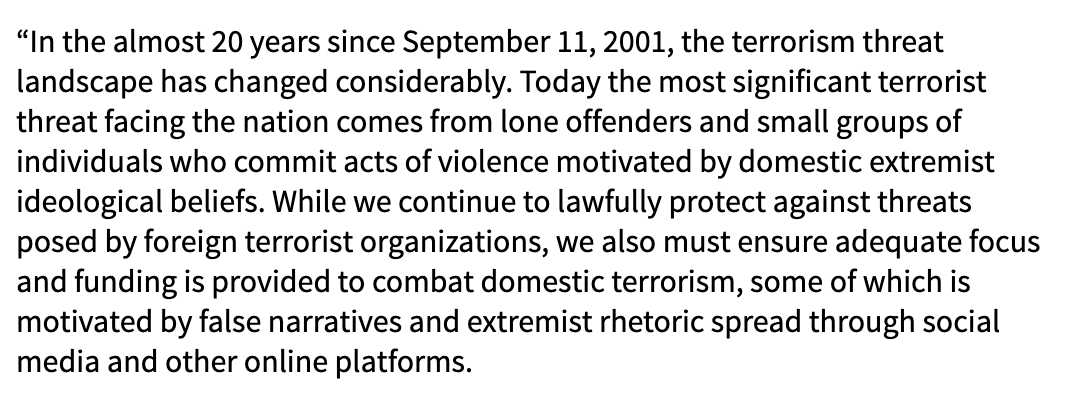 ".@AliMayorkas: ""Since 9/11, the terrorism threat landscape has changed considerably...we must ensure adequate focus & funding to combat domestic terrorism, some of which is motivated by false narratives & extremist rhetoric spread through social media and other online platforms"" https://t.co/m4Bs1nXGjT"