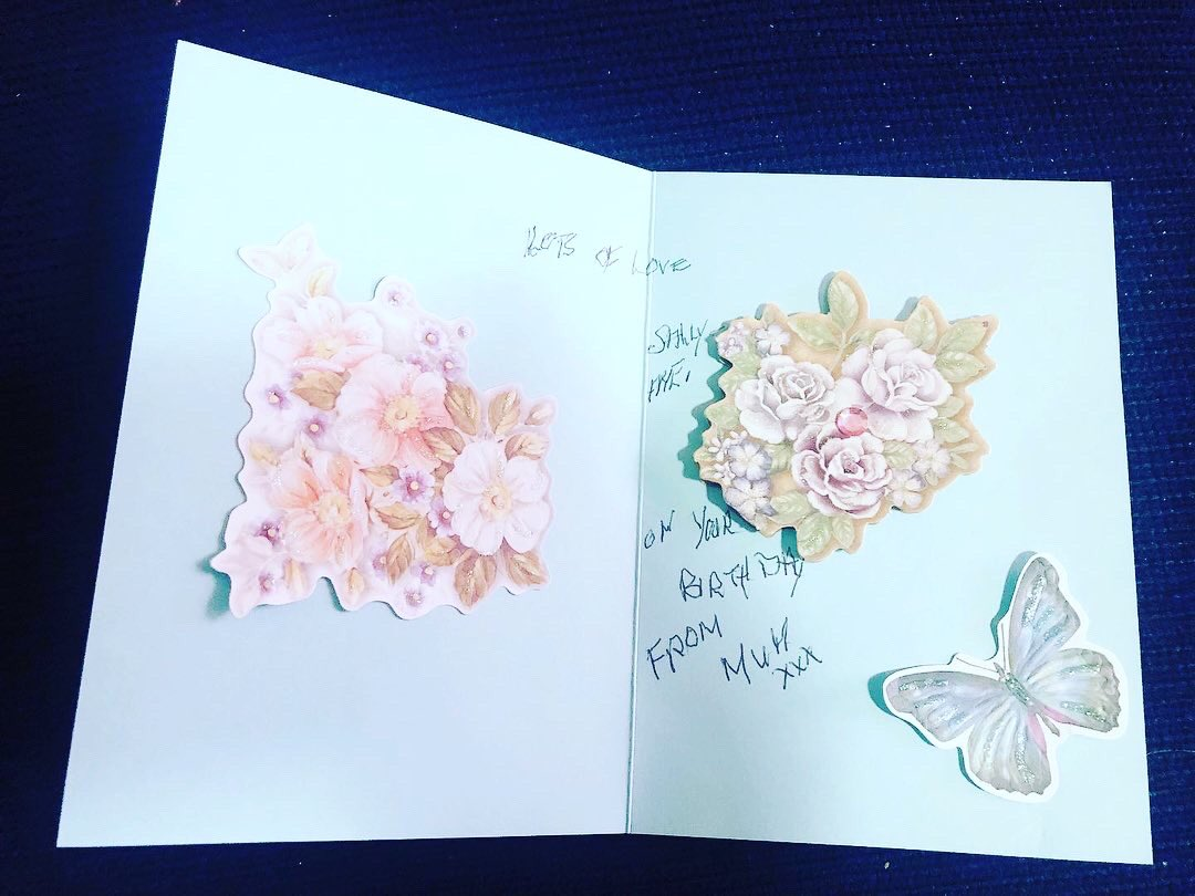 When your 93 yo Mum, who gives you the most precious gift of life, then makes you a card in craft and writes in it herself .... My heart is FULL 💜🙏💜 #motherslove #giftoflife #greatfull #loved #blessed