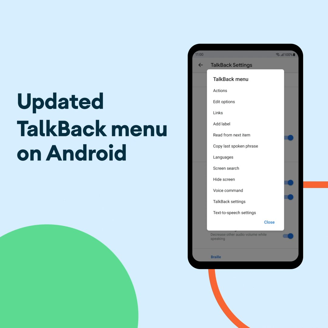 A unified menu system has arrived on #Android's screen reader, TalkBack. It's customizable so people with blindness or low vision can create shortcuts that make sense for how they use their phone the most. Learn more: